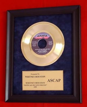 WHITNEY HOUSTON AUTHENTIC GOLD RECORD AWARD - RARE!