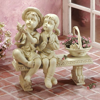 Seated Boy and Girl Garden Statue