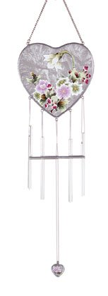 VictorianFlowers Heart Shaped Wind Chimes