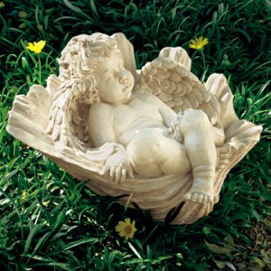 Sleeping Cherub in Seashell Sculpture