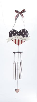 Heart-shaped God Bless America Wind Chime.