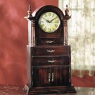 Wood Mantel Clock With 3 Drawers at the Base.