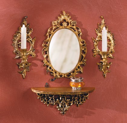 Baroque-Style Mirror, Shelf and Candle Sconces.