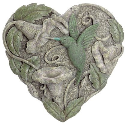 Heart-shaped plaque with hummingbird and morning glories
