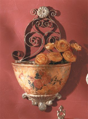 Antique-Look Rose Design Decorative Wall Planter