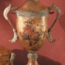 Antique-Look Rose Design Decorative Urn With Lid.