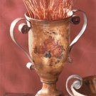 Antique-Look Rose Design Decorative Urn With Mottled Copper Finish.