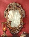 Baroque-Style Antique Design Gold Finish Mirror.