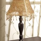 Candle Lamp With Beaded Gold Shade.