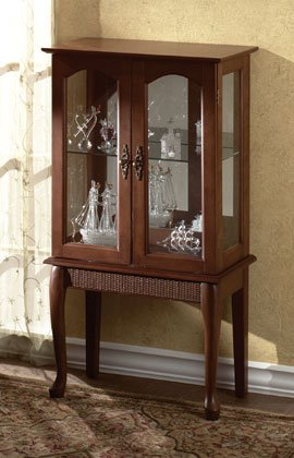 Wood Curio Cabinet With Glass Doors.