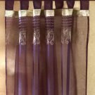 Purple Fabric Curtain With Gold Embroidery.
