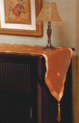 Orange Sun Pattern Table Runner With Tassels.