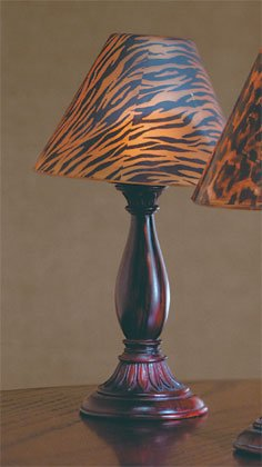 Candle Lamp With Tiger Stripe Glass Shade.