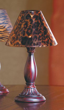 Candle Lamp With Leopard Print Glass Shade'