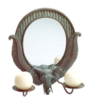 Elephant Theme Wall Mirror With 2 Candle Dishes.