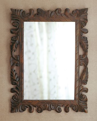 Scroll and Leaf Design Carved Wall Mirror.