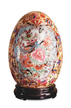 Adorned porcelain egg