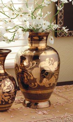 Ginger jar design pewter and brass vase
