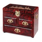Three-drawer lacquered jewelry box