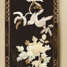 Inlaid shell blue, yellow and pink birds made from shell on a lacquered wood screen