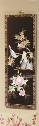 Inlaid shell birds and leaves on a lacquered wood screen