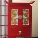 Exotic dragon motif wood cabinet