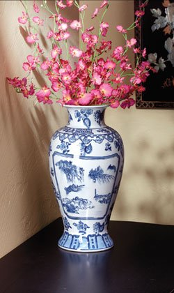 Blue-willow style porcelain vase