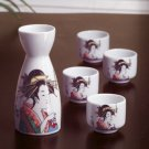 Geisha design sake pitcher and four cups