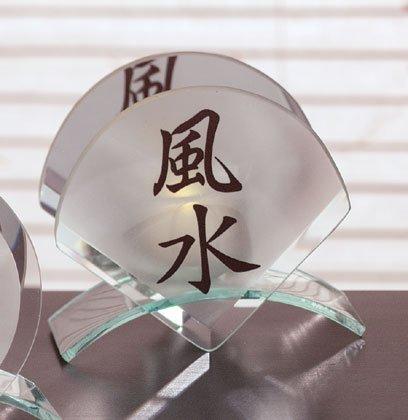 Fan-shaped Feng Shui glass candle holde