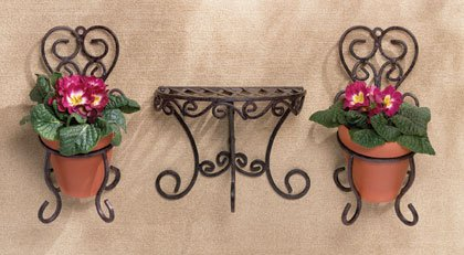 Wrought iron cafe style wall shelf and wall planters