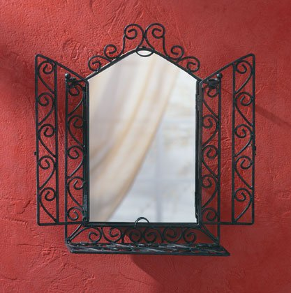 Wrought iron window-shaped mirror