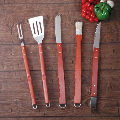 Five-piece barbecue tool set.