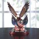 Patriotic Eagle and Flag Statue