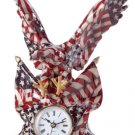 Patchwork American Flag Eagle Clock