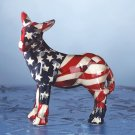 Miniature American flag Patchwork donkey. Porcelain.