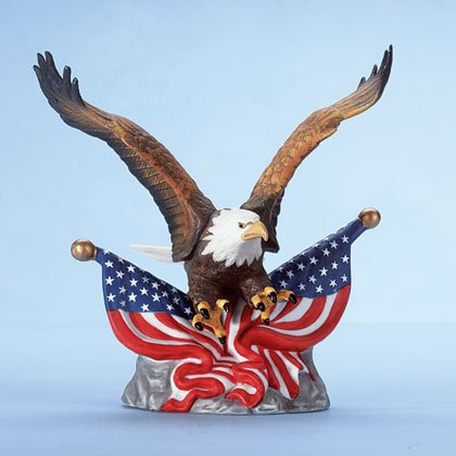 Porcelain eagle over two American flags