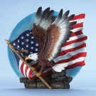 Eagle with American flag decorative plate. Alabastrite with green felt pad on base