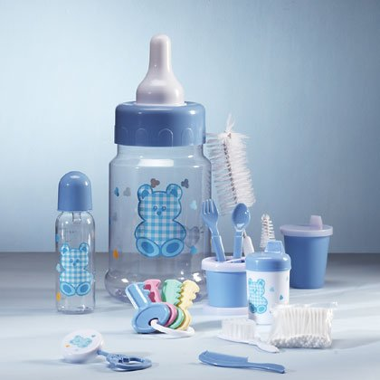 Blue 10-piece baby gift set in a bottle savings bank.
