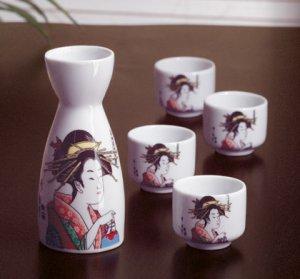 Geisha design sake pitcher and four cups