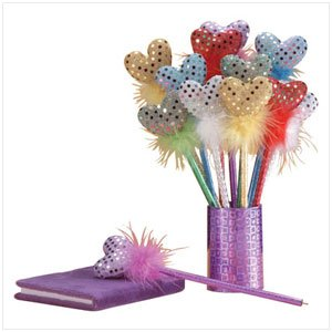 SEQUINED HEART PENS