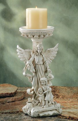 GUARDIAN ANGEL WITH CHILDREN CANDLESTICK