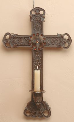 CLASSIC WALL CROSS AND CANDLEHOLDER