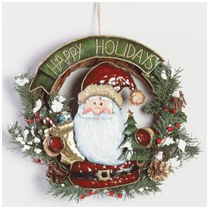 HAPPY HOLIDAYS SANTA WREATH