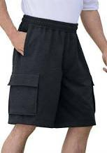 Men's Size 46 48 2XL Fleece Big and Tall Cargo Workout Lounge Shorts Black