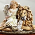"NEW Angel Sitting With Lamb & Lion Figure 11.5"" x 14.5"" x 8"""