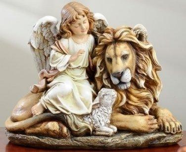 "NEW Angel Sitting With Lamb & Lion Figure 11.5"" x 14.5"" x 8"""