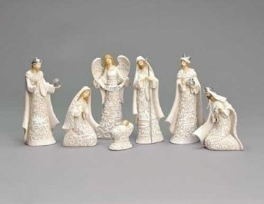 NEW Holy Family Angel Nativity 7 Pieces 7.5""