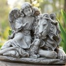 "Stone Style Figure Angel Sitting With Lamb & Lion Figure 11.5"" x 14.5"" x 8"""