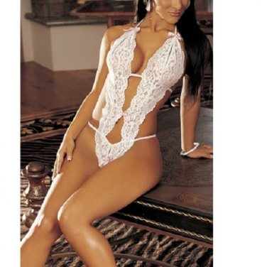 Adult Women Teddy Lingerie White Sexy Cut-Out Stretchy Lace with Bows - ONE SIZE
