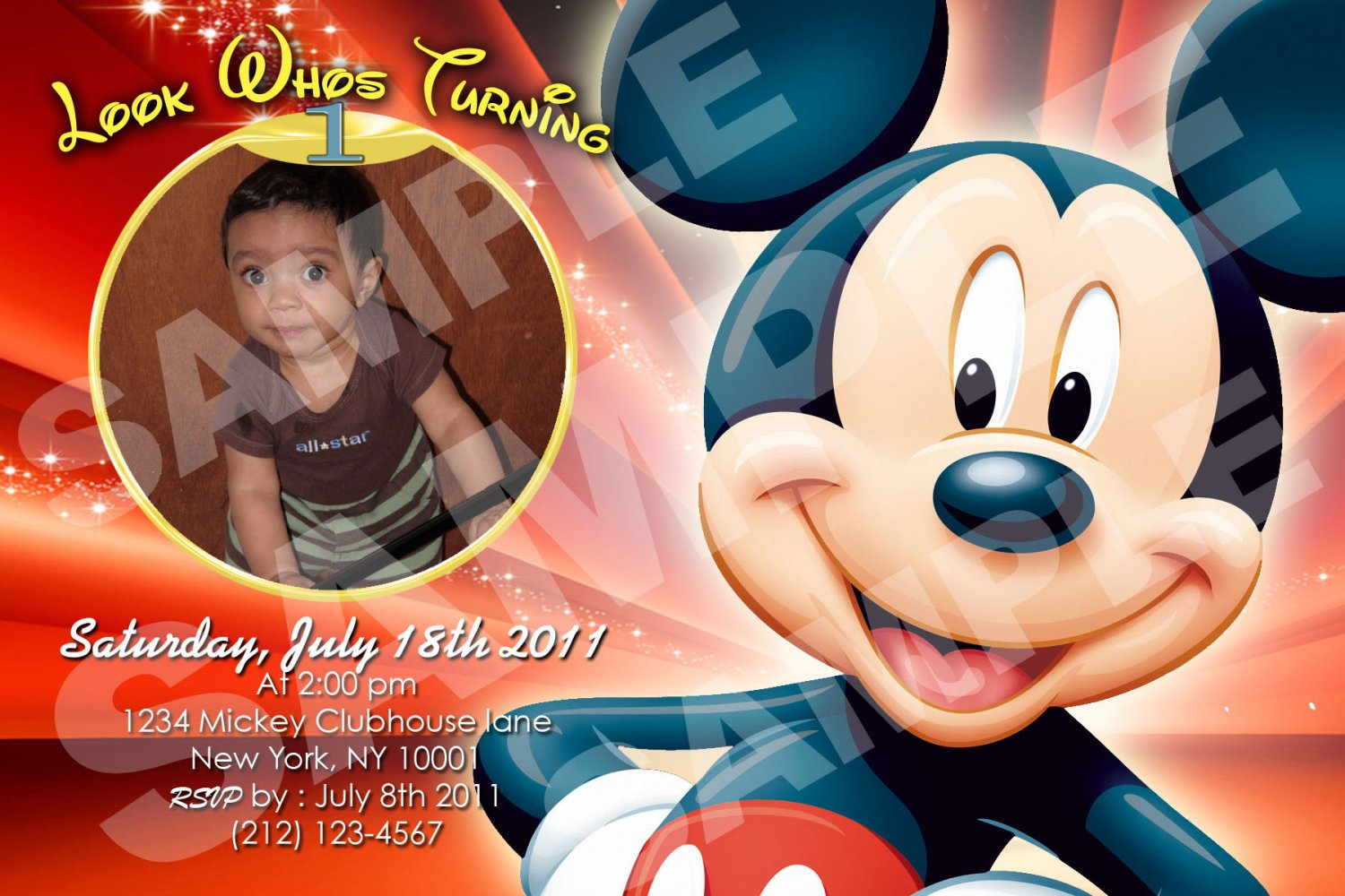 Mickey Mouse Birthday invitaions. 4 x 6 you print High Res digital file